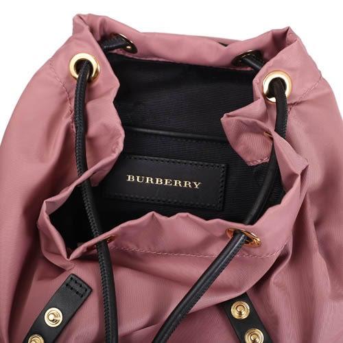 BURBERRY THE RUCKSACK 科技尼龍皮革軍旅小型斜背後背兩用包(粉葵粉紅)
