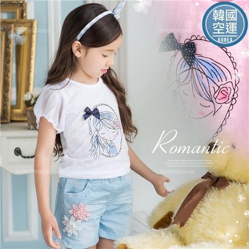韓國童裝~夢想蝶結女孩雪紡袖-超薄棉質上衣-2色(270433)★水娃娃時尚童裝★