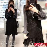假兩件V領蕾絲長袖洋裝 XL-5XL O-ker歐珂兒 158205-C