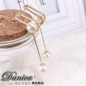 耳環 正韓氣質甜美簡約 感幾何立體珍珠吊飾耳環S92125  價Danica 韓系飾品韓國連線