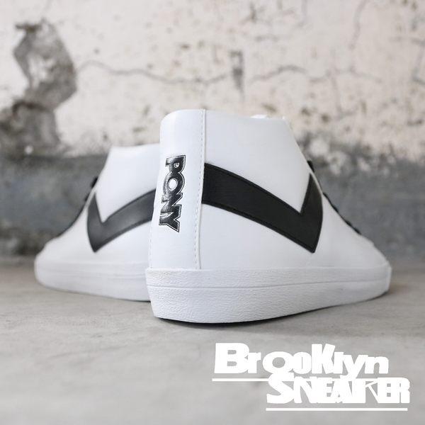 PONY 全白 皮革 基本款 中筒 休閒鞋 男女款 (布魯克林) 63U1TS62OW