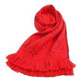 【奢華時尚】LV M72432 經典Monogram 花紋紅寶石色毛料圍巾    (全新)#10133