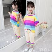 條紋女童套裝夏裝2019新款兒童洋氣時髦短袖兩件套小女孩夏季 LR5989【原創風館】