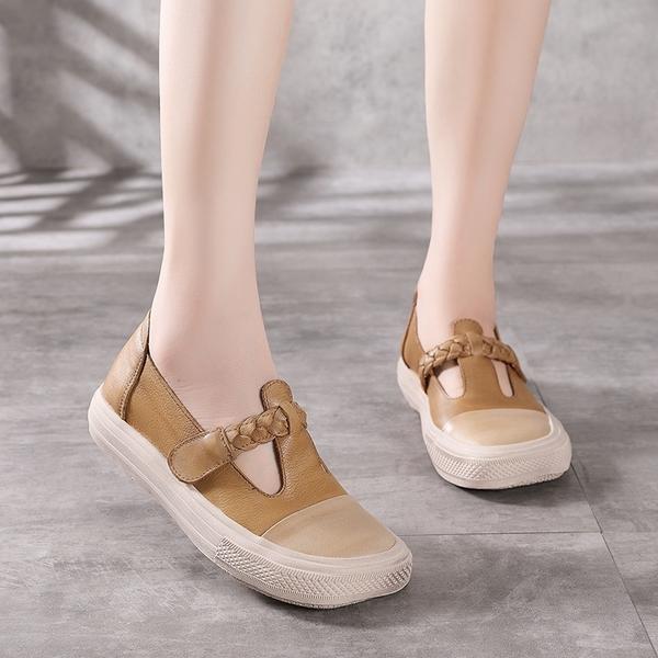魔術貼平底鞋 淺口低跟休閒鞋 真皮手工女鞋/2色-夢想家-標準碼-0412
