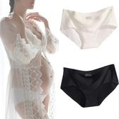 孕婦拍照寫真專用內褲冰絲無痕一片式低腰托腹黑白色大碼底褲2條 寶貝計書
