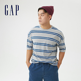 Gap男裝 厚磅密織系列碳素軟磨 純棉短袖T恤 735902-灰藍條紋