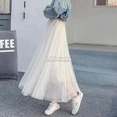 網紗長裙 新款ins超火的半身裙紗裙學中長高腰長裙夏裙子網紗裙