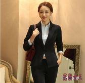 西裝外套 2019新款黑色短款長袖女小西裝韓版職業正裝西服外套TA548【花貓女王】