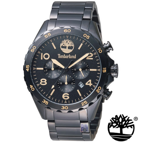 Timberland 美式 三眼 錶 (TBL.15126JSB/02M) 黑/46mm