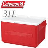 【Coleman 美國 31L 置物型冰桶 紅】行動冰箱/保冷冰箱/拉桿式行動冰箱CM-1329JM000★滿額送