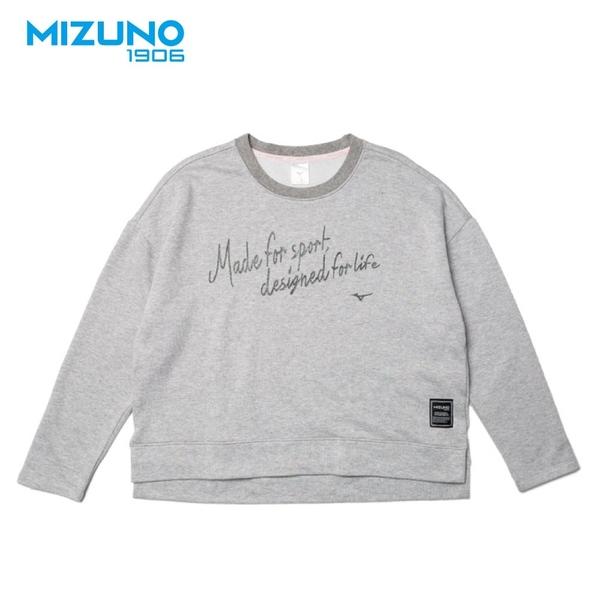MIZUNO 女裝 上衣 長袖 1906 T恤 休閒 圓領 保暖 灰【運動世界】D2TA923105