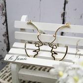 耳環 垂墜耳環 韓版超質感金屬人臉譜藝術抽象耳環