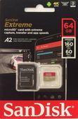 【公司貨 含轉卡】SanDisk Extreme 64GB microSDHC TF U3 (A2/V30) 160mb/s 記憶卡 終身保固