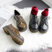 牛津鞋圓頭綁帶松糕鞋 森女系增高小皮鞋 學院牛津鞋 大頭鞋(限時八八折)
