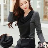上衣韓風手工釘珠OL撞色公主袖質感垂領長袖T恤LIYO理優E742040