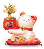 【金石工坊】發財樹貓(高22CM)搖錢樹-七彩LED燈 招財貓 開店送禮 開業禮品 陶瓷開運擺飾 撲滿