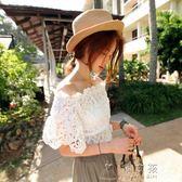 韓國白色蕾絲一字肩露肩罩衫荷葉邊收腰短袖上衣女勾花鏤空甜美夏     俏女孩