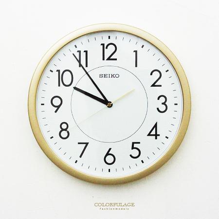 SEIKO精工掛鐘 時尚金色外框時鐘 面板夜光功能 滑動式秒針 柒彩年代【NG1726】原廠公司貨