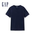 Gap男裝 簡約純色V領短袖T恤 440768-海軍藍