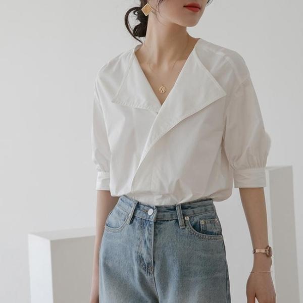 短袖襯衫 冷淡風襯衣設計感小眾白色襯衫女新款2021年夏季法式短袖復古上衣 韓國時尚週 免運