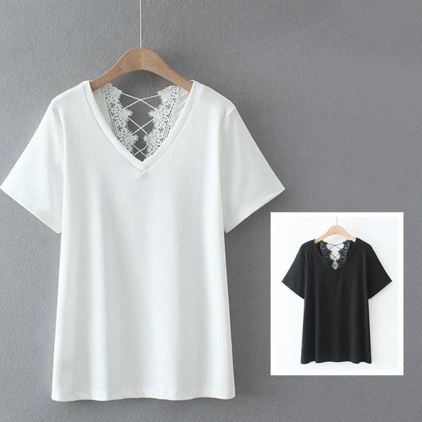 *ORead*韓版寬鬆蕾絲拼接V領短袖T恤(2色XL~4XL)