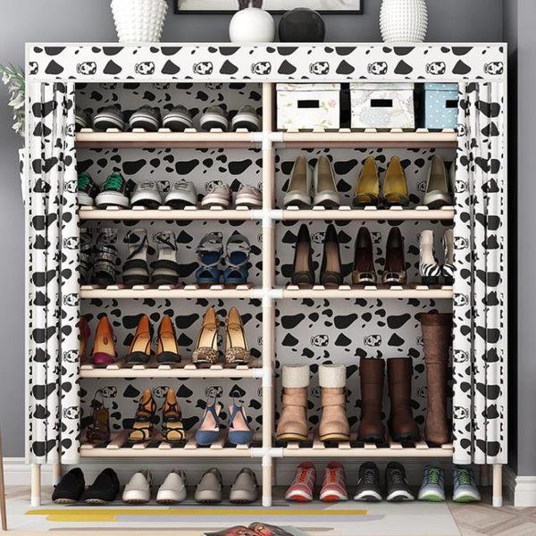 家用簡易鞋架 實木多層布藝經濟型現代簡約宿舍多功能牛津布鞋櫃【元氣少女】
