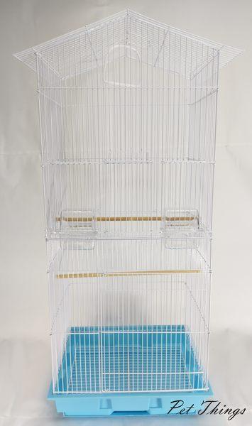 三色 加高 雙層 白色房屋尖頂造型鳥籠 抽屜鳥籠 鸚鵡籠 蜜袋鼯籠- 寵物東西 Pet Things