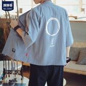 外套七分短袖夾克道袍男士加肥大尺碼衣服韓版潮流胖子男裝