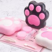 晰雅隱形眼鏡盒女可愛貓爪簡約雙聯盒收納盒近視眼睛美瞳伴侶盒子