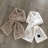 LAN 柔軟羊羔絨 刺繡飯團子 搭配小圍巾『櫻花小屋』