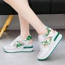 內增高女鞋厚底百搭鏤空涼鞋2021夏季新款韓版網紗透氣休閒運動鞋 快速出貨