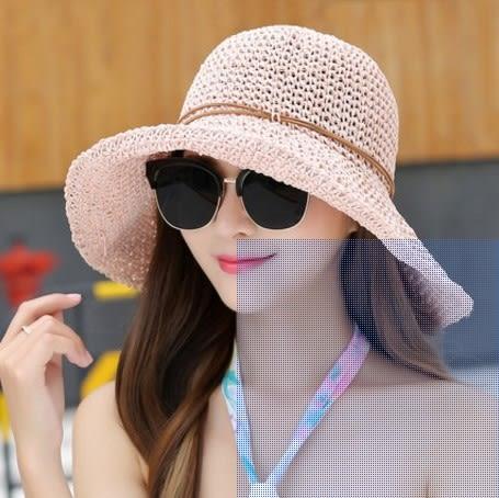 [協貿國際]  女士夏天海邊可折疊遮陽帽出遊大沿草帽 (1入)