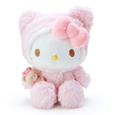 〔小禮堂〕Hello Kitty 套頭造型帽絨毛玩偶娃娃《M.粉白》擺飾.玩具 4901610-93142