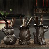 茶道六君子套裝紫砂黑檀雞翅木功夫茶具組合配件茶盤擺件實木茶夾 js11425『miss洛羽』TW