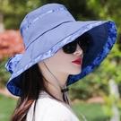 遮陽帽帽子女夏大沿遮陽帽遮臉時尚百搭防紫外線折疊沙灘涼帽防曬太陽帽可卡衣櫃