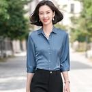 簡約氣質五分袖絲滑緞面短袖襯衫[21S101-PF]美之札