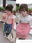 女童長袖襯衫-童裝春秋季新款中小童甜美圓點蕾絲花邊襯衫 女童寶寶上衣 糖糖日系