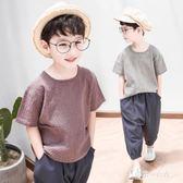 童裝男童夏裝套裝中大童兒童夏季帥氣兩件套男孩棉麻潮衣 東京衣秀