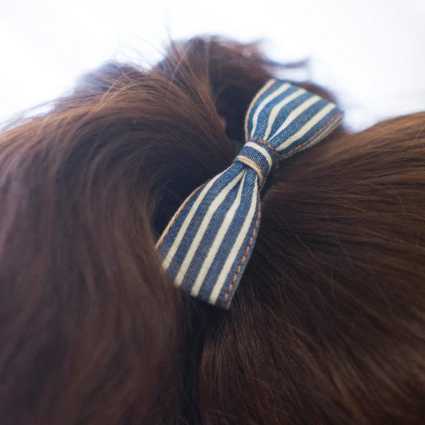 蝴蝶結髮圈 牛仔布藍白條紋髮圈(現貨/實拍)