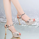 魚口鞋 2021夏季新款韓版百搭一字扣帶魚嘴高跟涼鞋女細跟防水臺性感女鞋