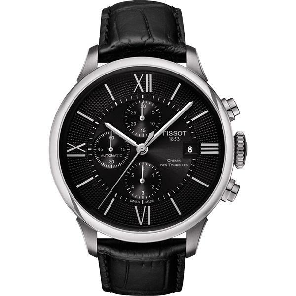 TISSOT 天梭 杜魯爾系列機械計時手錶-黑/44mm T0994271605800