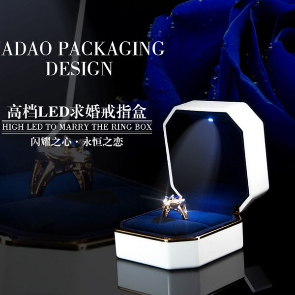 求婚戒指盒 婚禮高檔創意對戒盒鑽戒盒子led發光結婚首飾盒【元氣少女】