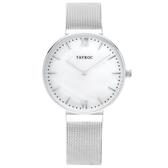 【台南 時代鐘錶 TAYROC】英國簡約現代風 TALIA 米蘭帶時尚腕錶 TY150 貝殼面/銀 36mm