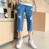 破洞牛仔褲男短褲潮男百搭春夏季青少年韓版潮流男生直筒七分褲子