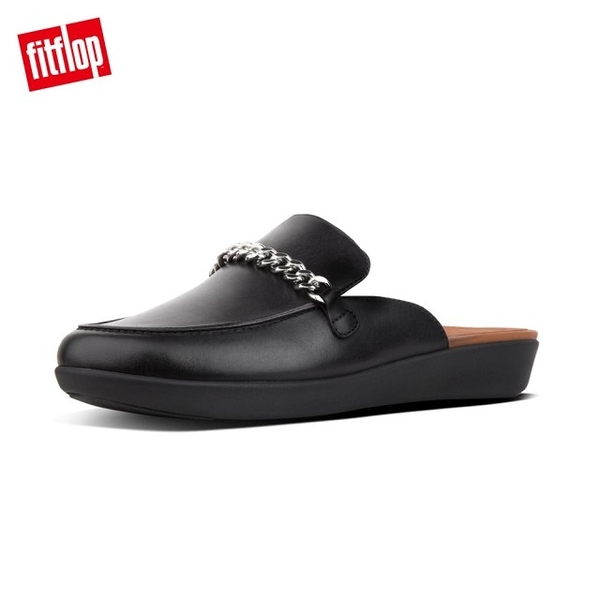 【FitFlop】SERENE CHAIN LEATHER MULES無後跟時尚穆勒鞋(黑色)