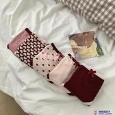 5條組 韓版日系少女紅色印花內褲套裝愛心條紋中腰底褲三角褲女大碼【櫻桃菜菜子】