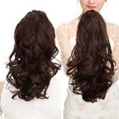 假髮 韓系鯊魚夾子式假髮馬尾女中長短版捲髮馬尾辮子自然逼真大波浪直接髮片 增加髮量