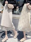 半身長裙2021秋冬針織半身裙女春中長款高腰過膝遮胯裙子顯瘦蕾絲a字長裙 JUST M