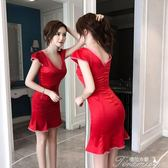 洋裝 夏季新款復古性感收腰名媛撞色花邊魚尾裙子女  提拉米蘇