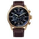 CITIZEN 星辰 光動能三眼計時手錶 CA4213-26L 玫瑰金/45mm